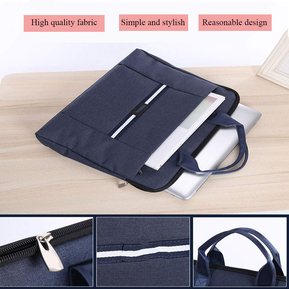 Color : Blue Canvas Business Briefcase File Bag Casual Handbag Multi-Function Travel Bag