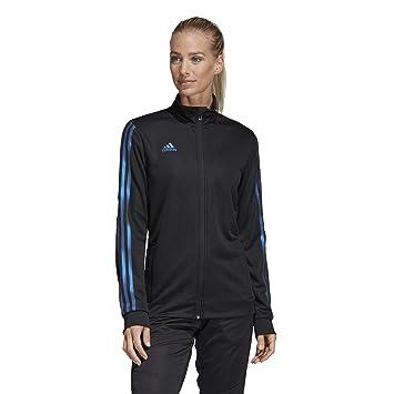 23b0e85acf433 adidas Women's Tiro Track Jacket,Black/Blue Pearl Essence,XS