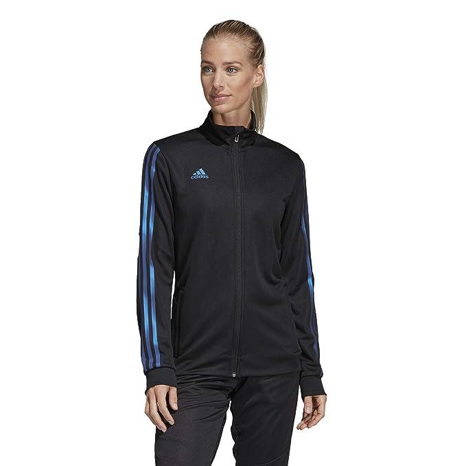 abf4350fe adidas Women's Alphaskin Tiro Training Jacket, Black/Blue Pearl Essence,  XX-Small