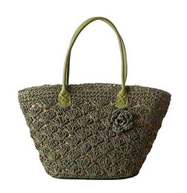 609a846c6513 Tonwhar® Paper String Crochet Straw Woven Bag Shoulder Tote Beach Bag