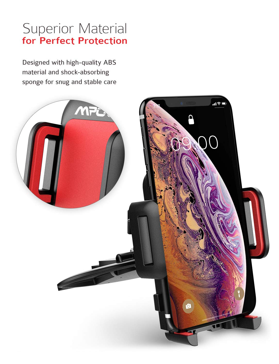 Mpow 051 Car Phone Mount, CD Slot Car Phone Holder, Car Mount with Three-Side Grips and One-Touch Design Compatible iPhone Xs MAX/XR/XS/X/8/8Plus, Galaxy S10/S10+/S10e/S9/S9+/N9/S8, Google, Huawei etc by Mpow (Image #2)