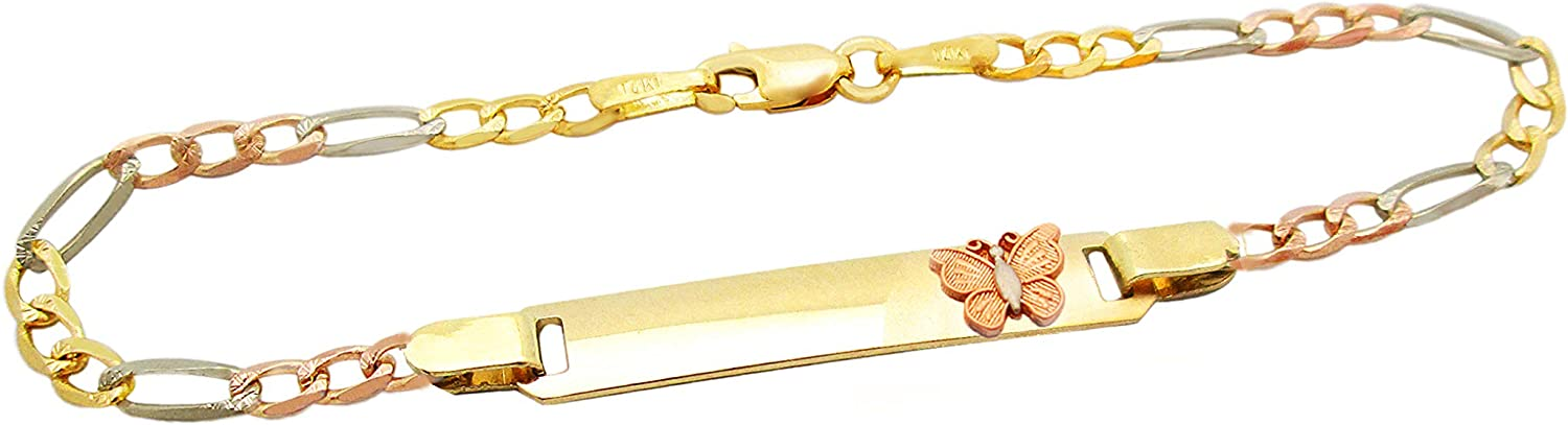 AMZ Jewelry Childrens 10k Tri Color Gold Figaro Link ID Bracelet with Heart 6.5 in