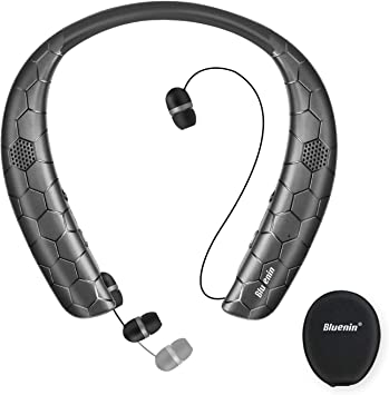 Amazon Com Bluetooth Headphones Speaker 2 In 1 Bluenin Neckband Wireless Headset With Mic Sweatproof Wearable Speaker Bluetooth 5 0 Headphones Retractable Earbuds With Carrying Case Black Home Audio Theater
