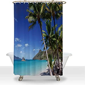 ALUONI Catseye Beach on Hamilton Island in The Whitsundays Durbale Shower Curtain Apartment Essentials,for Hotel,60''W x 72''H