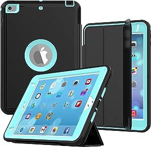 iPad Mini 4 Case, iPad Mini Case 5th Generation, SEYMAC Drop Protection Rugged Protective Heavy Duty iPad Mini Stand Case with Smart Auto Wake/Sleep Cover for iPad Mini 4th/5th Gen (Black/Light Blue)