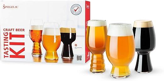 Spiegelau Craft Beer Tasting Kit Glasses, Set of 3, European-Made Lead-Free Crystal, Modern Beer Glasses, Dishwasher Safe, Professional Quality Tasting Glass Gift Set