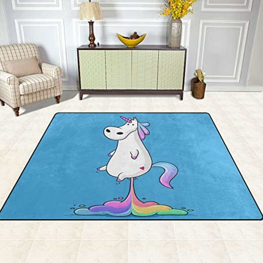 cpyang Funny Fat Einhorn mit Regenbogen Rechteck Bereich Teppiche ...