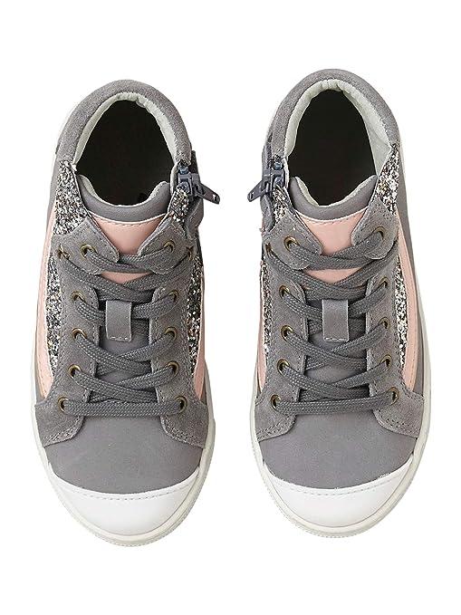 a0ed2a294 VERTBAUDET Zapatillas de caña Alta para niña de Piel y Brillantes   Amazon.es  Deportes y aire libre