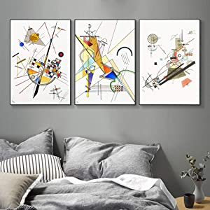 "INVIN ART Framed Streched Canvas Giclee Print Combo Painting 3 Pieces by Wassily Kandinsky Wall Art Series#001 Living Room Home Office Decorations(Black Slim Frame,20""x28""Each Piece)"