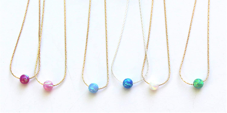 Blue Opal Silver Dangle Necklace Dainty Silver Opal Charm Opal Dangle Necklace Sterling Silver Opal Necklace Minimal Silver Chain