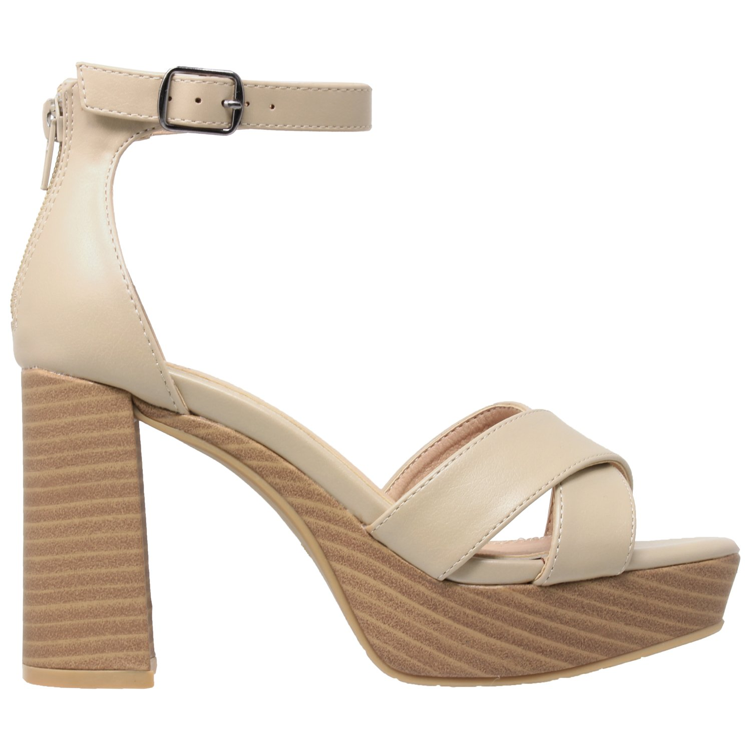 SOBEYO Womens Platform Sandals Open Toe Ankle Strap Chunky Block Heel Shoes B07B2H6RG6 6 B(M) US|Taupe Pu Leather