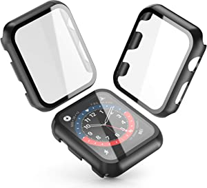 [2-Pack] Julk Black Hard Case for Apple Watch Series 3 / Series 2 Screen Protector 38mm, Hard PC Case Slim Tempered Glass Screen Protector Overall Protective Cover for iwatch Series 3/2