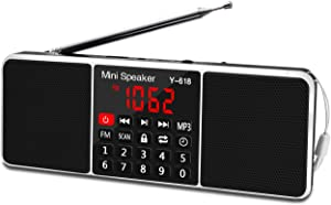 LEFON Multifunction Digital FM Radio Media Speaker MP3 Music Player Support TF Card USB Drive with LED Screen Display and Setting Timing Shutdown Function (Black)