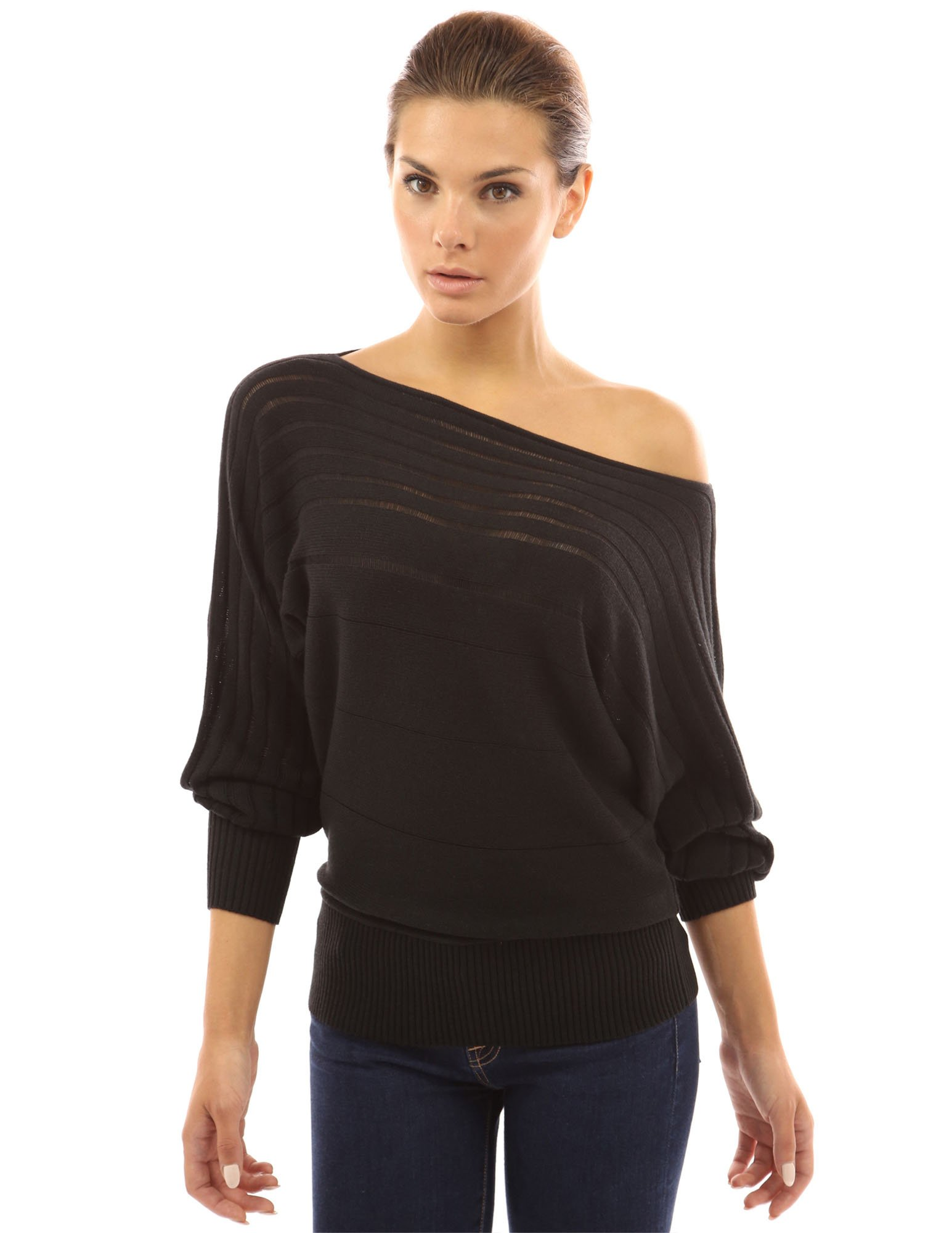 PattyBoutik Women's on / off one shoulder Semi-sheer Sweater (Black M)