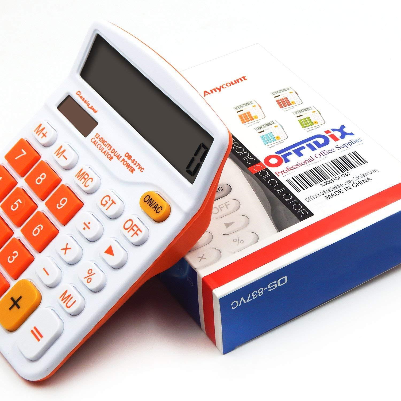 OFFIDIX Office Desktop Rechner Solar und Akku Dual Power Elektronischer Taschenrechner Portable 12 Digit Gro/ße LCD Display Taschenrechner Orange