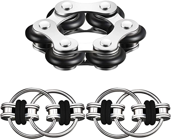 Stainless Steel Bike Chain Toys for Adults and Teens Flippy Chain Fidget Toy Stress Relief Finger Toys for ADHD Anxiety and Autism DOTSOG 5 Pcs Bike Chain Fidget Toys