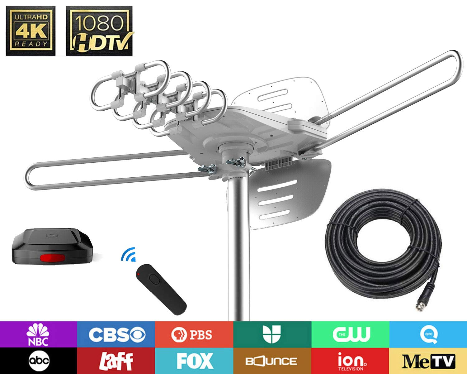 TV Antenna - 90% Pre-Assembled 150 Miles Range Outdoor Motorized 360 Degrees Amplified HDTV Antenna for 2 TVs Support - UHF/VHF 4K 1080P Channels Wireless Remote Control - 39FT Coax Cable by 1byone