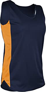 product image for TR-980W-CB Women's Athletic Lightweight Single Ply Track Singlet with Side Panels (Large, Navy/Gold)