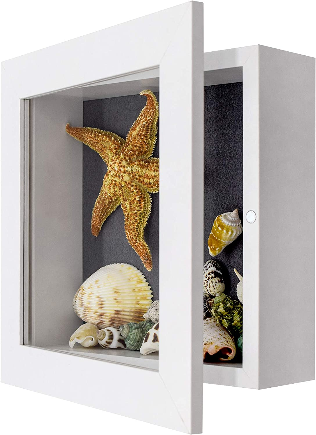 Golden State Art, Shadow Box Frame Display Case, 2-inch Depth, Great for Collages, Collections, Mementos (8x8, White)