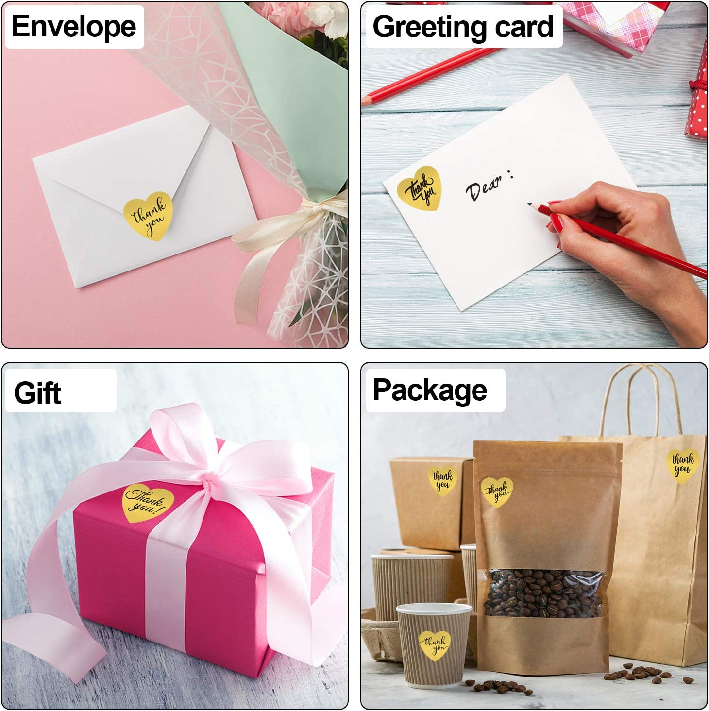 BQTQ 2000 Pcs Thank You Sticker Heart Shape 4 Roll Thank You Stickers Roll 1 Inch Gold Foil Stickers Label for Business Packaging Packages 500 per Roll Thank You Cards Wedding Gifts