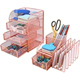 PAG Rose Gold Desk Organizer Pen Holder Office Supplies and Accessories Storage Caddy with Drawers, Set of 2