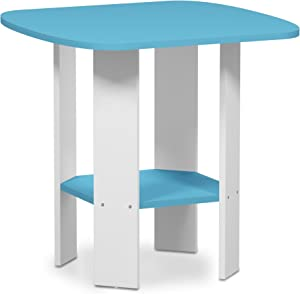 FURINNO Simple Design End/SideTable, 1-Pack, Light Blue/White