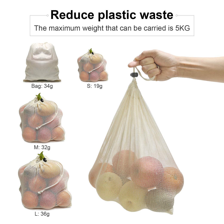 SODIAL Bolsas De Compras Reutilizables 12-Juego Bolsas De Productos Reutilizables Bolsas Sin Plastico De Algodon Organico Lavable Cero Desperdicio Bolsa De Red De Compras