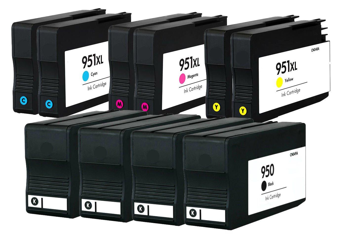 purpplexリサイクルインクカートリッジHP 950のブラックとCMY 951 X LインクカートリッジHP Officejet Pro 8625 251dwインクジェットプリンタ B079Z8CY8W 4 Black- 6 Color 4 Black- 6 Color