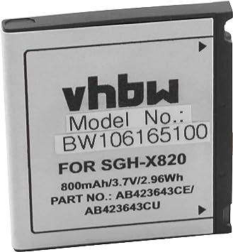 vhbw Li-Ion batería 800mAh (3.7V) para móvil Smartphone teléfono ...