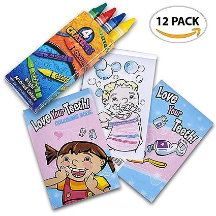 Amazon.com: ArtCreativity Dental Coloring Book Kit for Kids (12 Sets ...