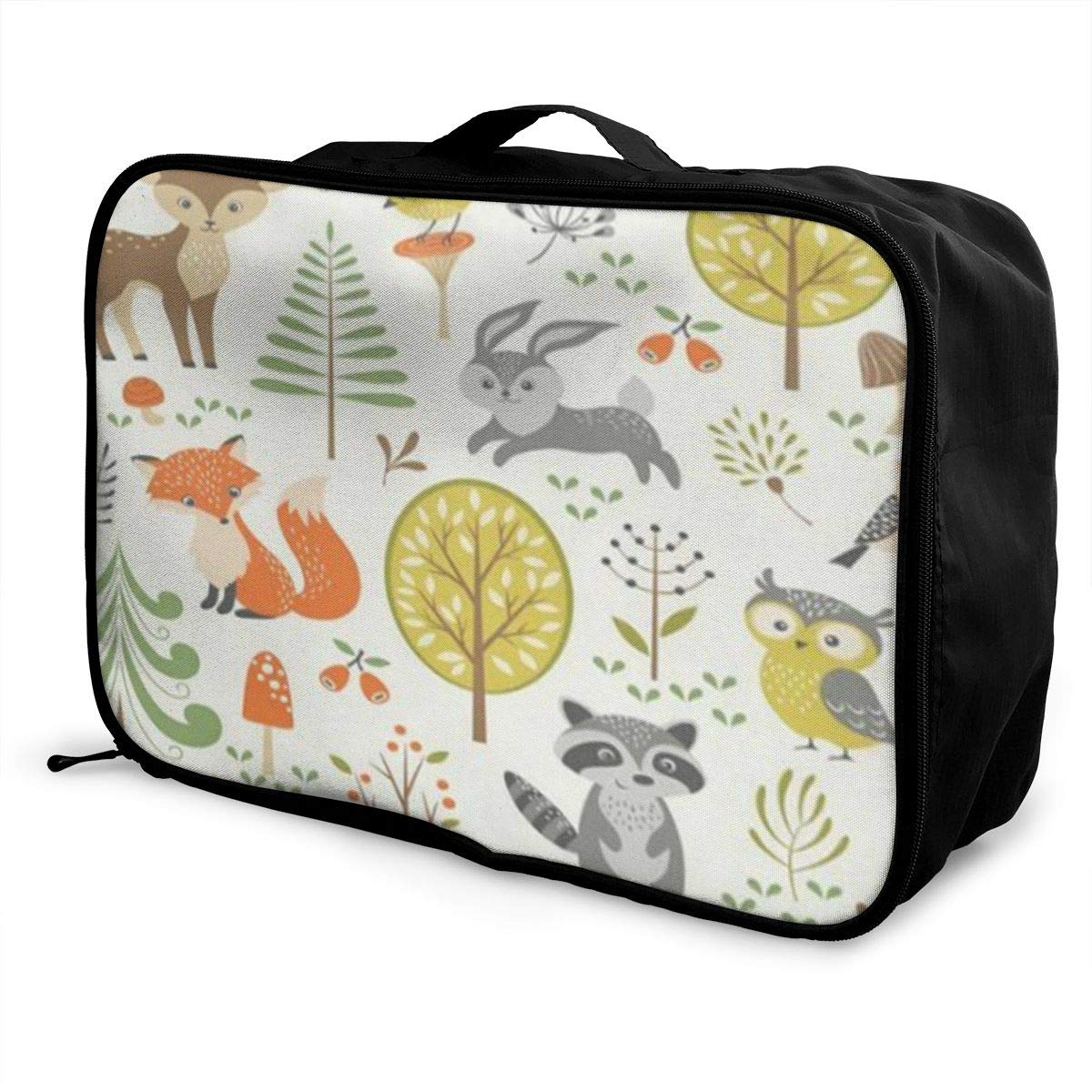 Forest Animal Green Canvas Travel Weekender Bag,Fashion Custom Lightweight Large Capacity Portable Luggage Bag,Suitcase Trolley Bag