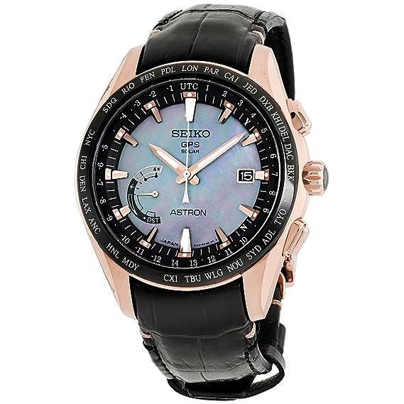 0772bf9926237 Mens Seiko Astron GPS Solar World Time Rose Gold Titanium Limited ...