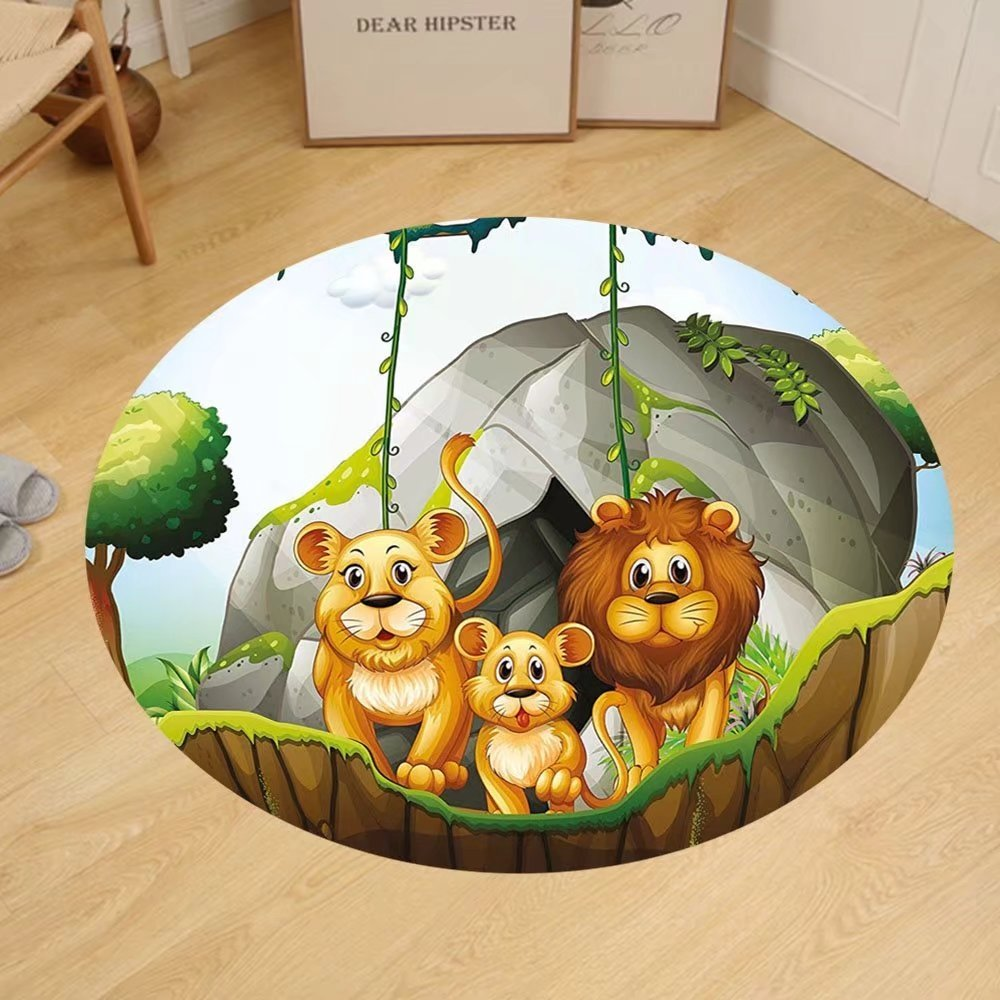 Gzhihine Custom round floor mat Forest Lion Family in the Jungle Woods King Zoo Nursery Bedroom Living Room Dorm Apricot Chocolate Hunter Green by Gzhihine (Image #1)