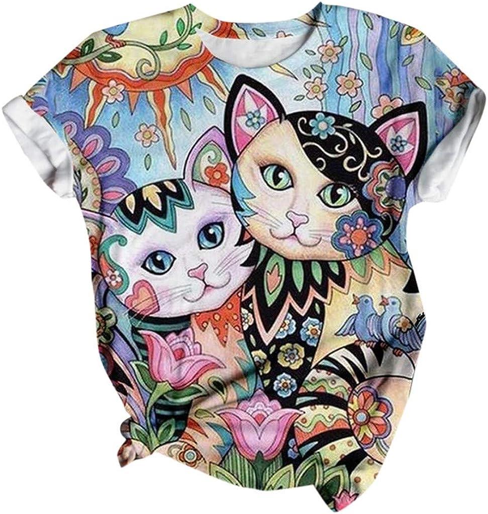 Women/'s T-Shirt Dress Cat Screen Print T-Shirt Dress Casual dress with Cat Design Cute Cat Design Casual Summer Dress