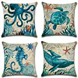 "Onway Ocean Park Cotton Linen Theme Decorative Pillow Cover Case D 18"" X 18"" Square Shape-ocean-beach-sea-print-starfish-seahorse-voyage, 4 Pack (Season1)"
