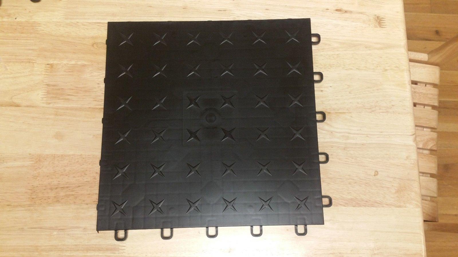 JSP Plastic Black Garage Tile Garage Floor Tiles Interlocking Basement Mat Black Diamond plate Made in USA (100) by JSP Manufacturing (Image #2)