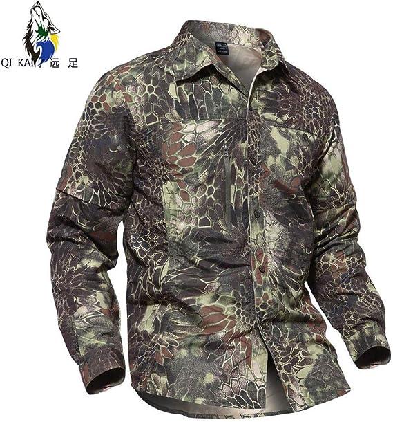 QIKAI Ropa táctica Camuflaje de los Hombres Camisa táctica de Secado rápido Camisa de montañismo al Aire Libre Camisa Transpirable de Secado rápido Top de Secado rápido E-M: Amazon.es: Hogar
