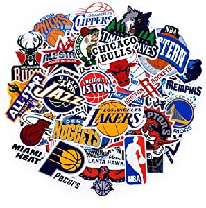 NBA Team Logo Stickers Decals 43 Pack for Water Bottle Laptop Skateboard Bicycle Motorcycle Car Bumper Luggage Travel Case, Waterproof, All Teams Collection, 30Pcs Team Logo + 13Pcs All-Star Logo