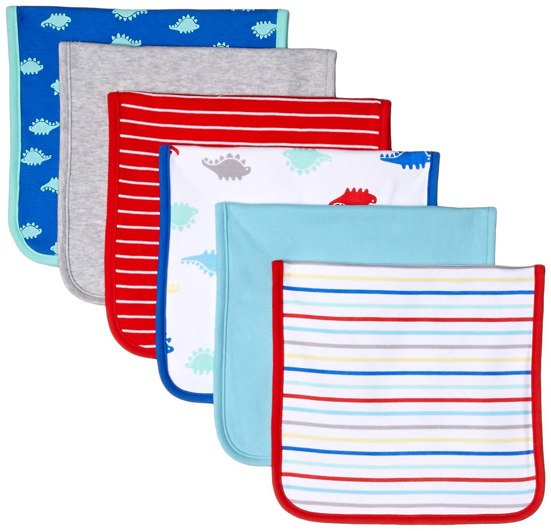 Amazon Essentials Baby 6-Pack Burp Cloth, Boy Dino, One Size