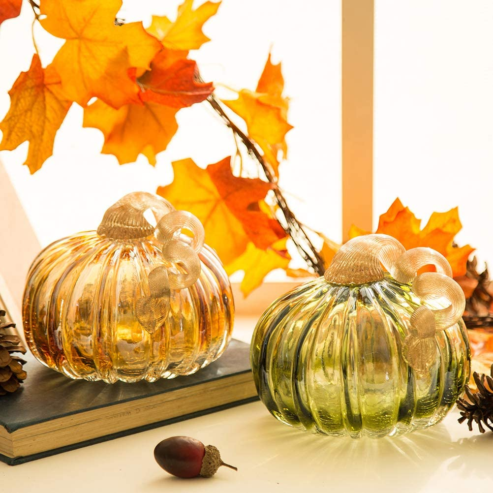 Glitzhome Hand Blown Green Amber Glass Pumpkin Thanksgiving Decorations for Home Table Accent for Fall & Harvest, Set of 2