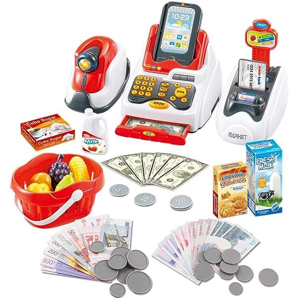 deAO Caja Registradora Electrónica de Juguete Escáner con Lector Real y Lector de Tarjetas Conjunto de Accesorios de Tienda y Supermercado Infantil Incluye Alimentos de Juguete: Amazon.es: Juguetes y juegos