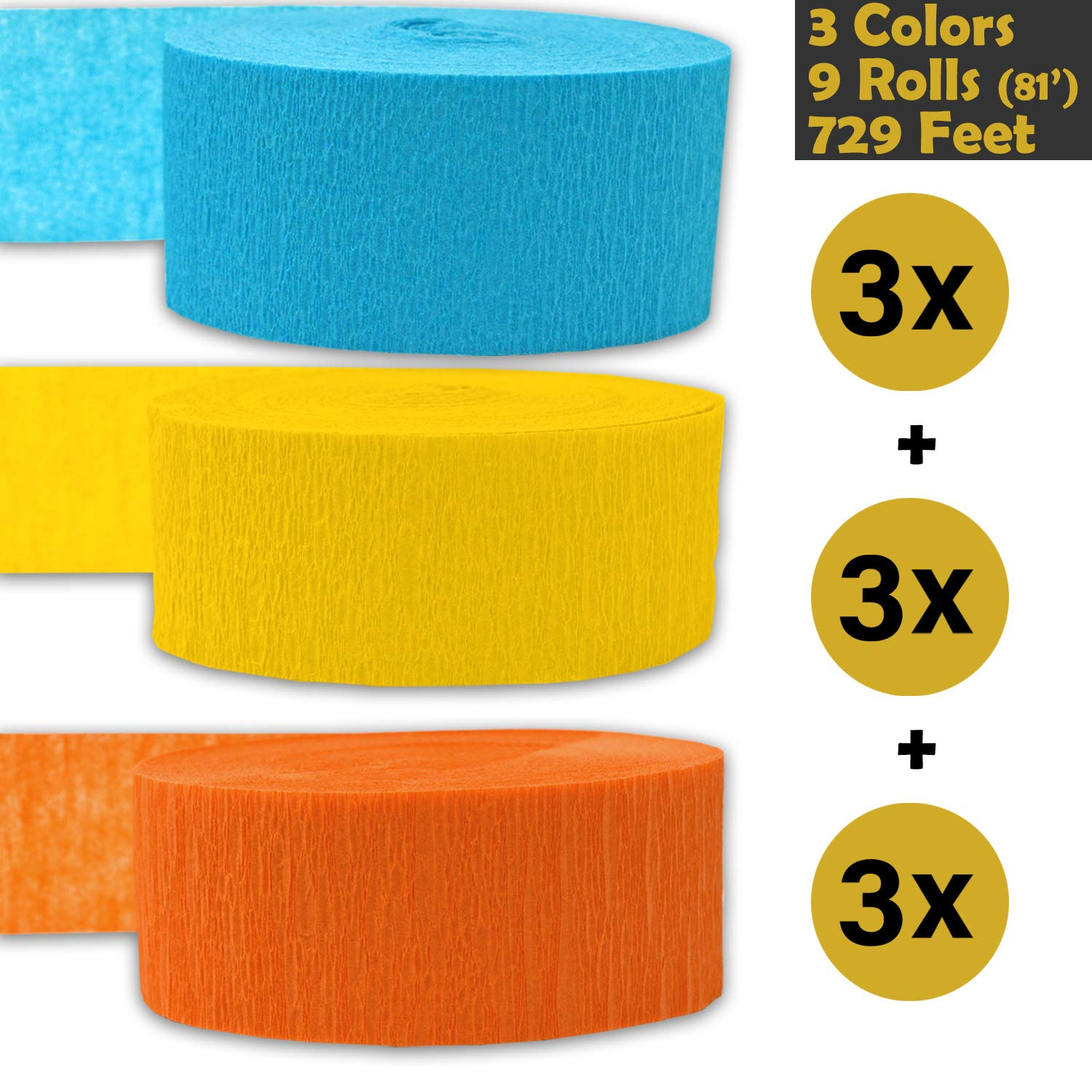 Sapphire Blue 739 ft Crepe Party Streamers 3 rolls per color, 81 foot each roll - For party Decorations and Crafts Turquoise 9 rolls Bleed Resistant Made in USA Flame Resistant 243 per color 3 Colors Seafoam Green