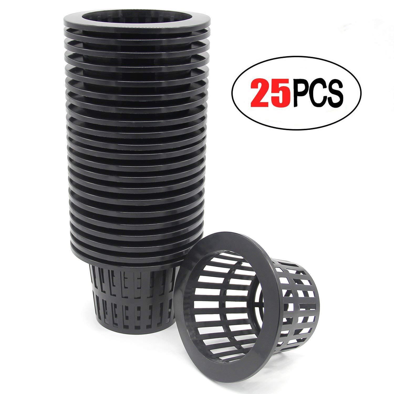 Coolrunner 25 Pack 4 inch Garden Net Cups Pots, Plastic Plant Nursery Pots, Slotted Mesh Wide Lip Round Heavy Duty Net Pot Bucket Basket Hydroponics(Black)