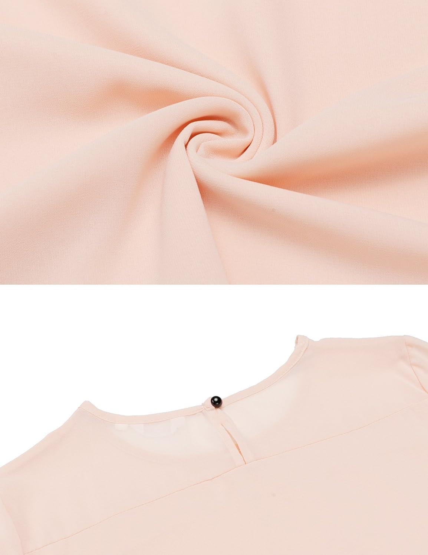 Meaneor Blusa Gasa Mujer Cuello O Multicolor Camisa Asimetrica de Verano Mangas Volantes: Amazon.es: Ropa y accesorios
