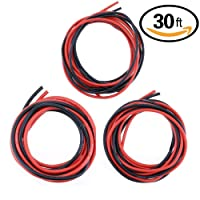 Hilitchi 30feet Black and Red 10 / 12 / 14 AWG Gauge Silicone Wire - Flexible Silicone Wire