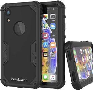 Punkcase iPhone XR Waterproof Case [Navy Seal Extreme Series] [Slim Fit] [IP68 Certified] [Shockproof] [Dirtproof] [Snowproof] 360 Full Body Armor Cover Compatible W/Apple iPhone XR [Black]