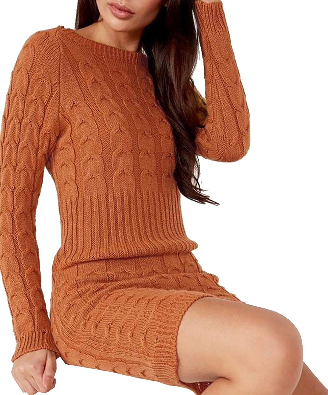 fashioncrazexx Ladies Distressed Italian Cable Knitted Jumper Ladies Fancy Winter Wear Midi Dress Top