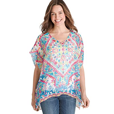 Chico's Women's Multi-Print Linen Poncho Multi at Amazon Women's Clothing store