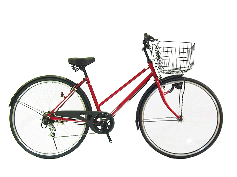 Lupinusルピナス 自転車 27インチ LP-276TA シティサイクル LEDオートライト シマノ製外装6段ギア ブラックリム 100%完成車 B012YPEAVS セダーレッド×マッドブラック セダーレッド×マッドブラック