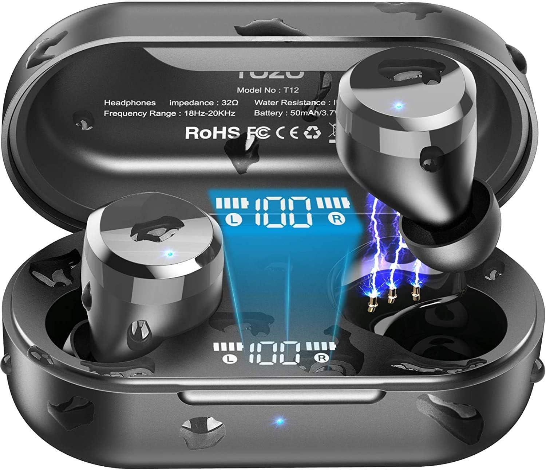 TOZO T12 Auriculares Bluetooth con Control táctil y Estuche de Carga inalámbrica Pantalla LED de Inteligencia Digital IPX8 Impermeables con micrófono Incorporado Bajos Profundos para Deporte Negro